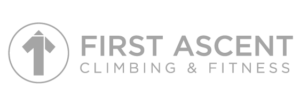 First Ascent Climbing and Fitness grey logo