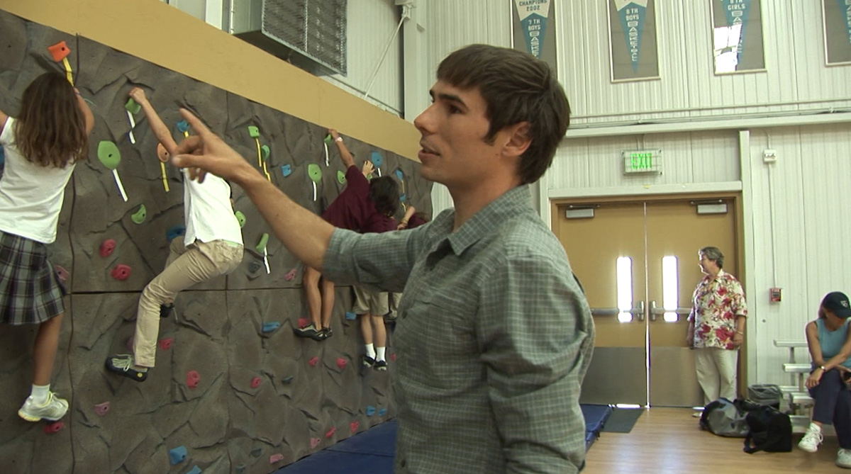 Kevin Jorgeson checks out the Sonoma wall at the Boys and Girls Club.