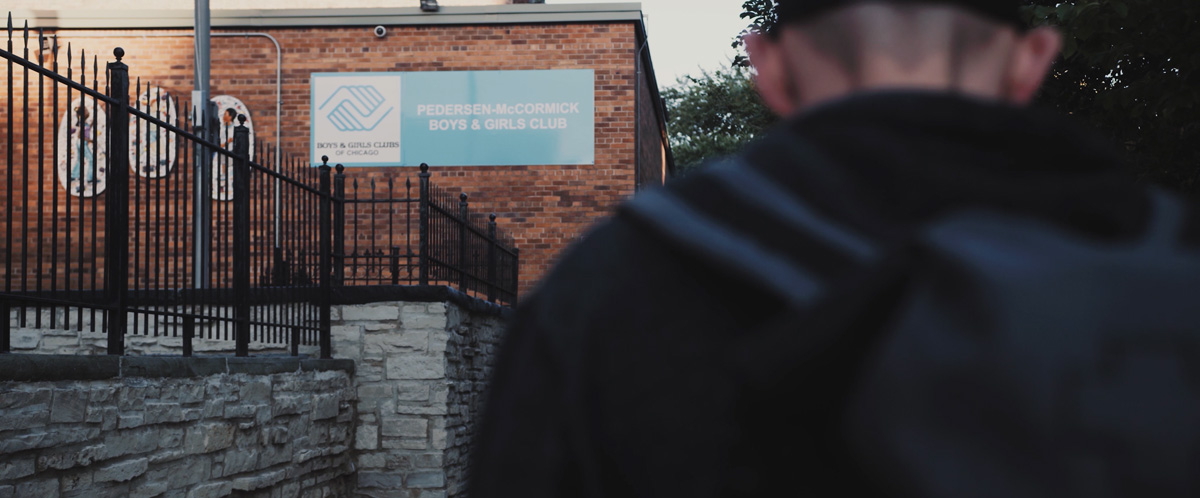 1Climb and So iLL co-founder, Dan Chanceller walks outside of the Boys and Girls Club of Chicago.