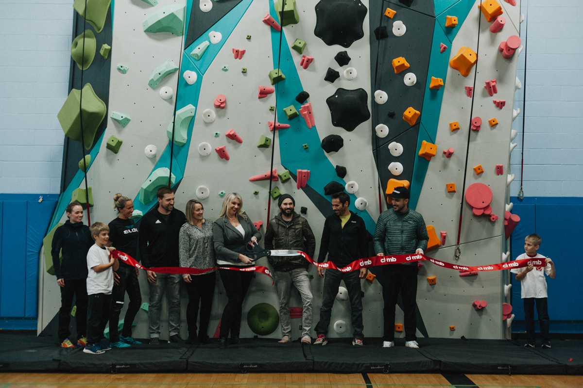 the ribbon is cut at the opening ceremony of the santa rosa 1climb wall