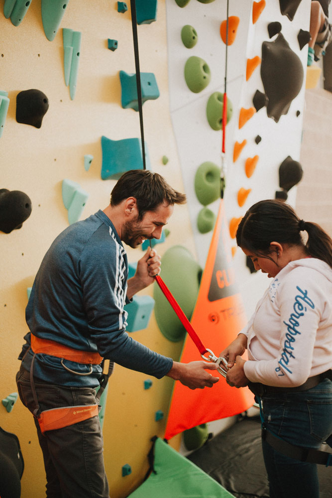 1Climb cofounder Kevin Jorgeson helps with an auto belay