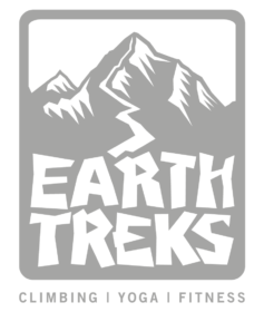 earth treks climbing gym logo in grey